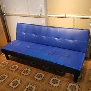 おしゃれなブルー ソファベッド 3人掛け