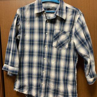 ブルーチェックシャツ 七分袖