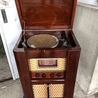 昭和レトロ 真空管式電気蓄音機 ラジオ レコードプレーヤー
