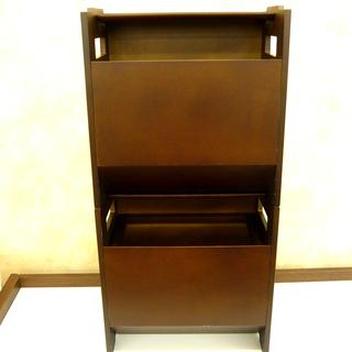 ダストボックス 木製 二個セット ブラウン 幅30㎝ 西岡店