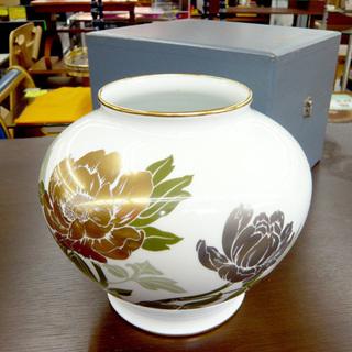 大倉陶園 金銀彩牡丹 花瓶 フラワーベース 花器 OKURA 白...