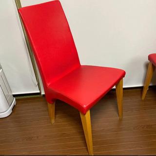 お洒落な赤い革(合皮)張り椅子2脚セット