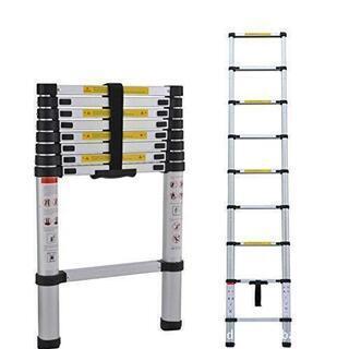 63 アルミ伸縮はしご 持ち運びやすい 最大2.6m 耐荷重約1...