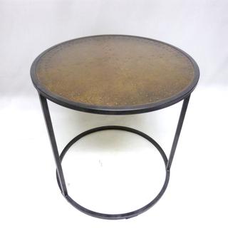 関家具 エルマ ラウンドサイドテーブル 真鍮板 リビングテーブル 台