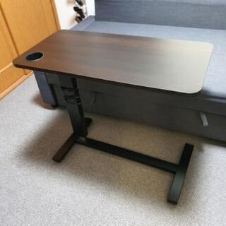 オーバーテーブル 昇降式テーブル ベッドサイドテーブル (USB...