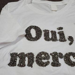 H&M  アンティーク風のビーズがついたTシャツ