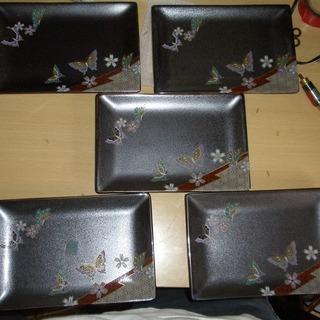 蝶の都 角銘々皿揃 5枚セット 中古品