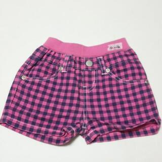 子供服 女の子 90サイズ ショートパンツ ピンク チェック