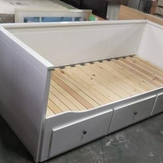 R1432) IKEA デイベッド ホワイト 引き出し3/マット...
