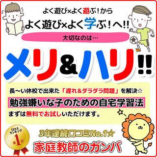 首都圏口コミNO.1 勉強嫌いな子のための家庭教師のガンバ⑨