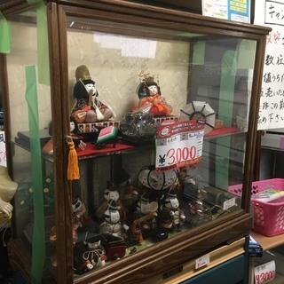 ☆中古 激安!! 七五三人形 日本人形 二段 ガラスケース付き※...