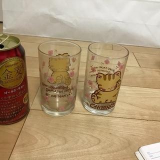 119、昭和レトロなグラス(オルガンヤ  )チビネコ 2個 - 生活雑貨