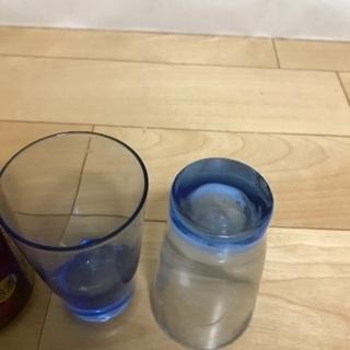 125、昭和レトロな青いグラス  2個 - 生活雑貨