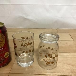 127、昭和レトロなグラス(金色 果物柄)2個 - 岡山市