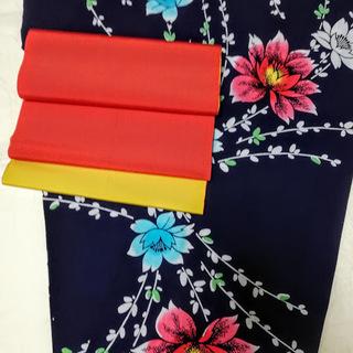 高級浴衣&正絹帯セット used美品 118-06