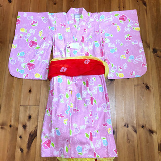 【中古】キッズ浴衣 ゆかた ピンク色 100cm