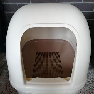 デオトイレ フード付き 猫 トイレ アイボリー