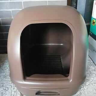 デオトイレ フード付き 猫 トイレ ブラウン