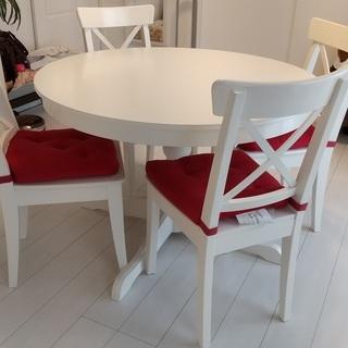IKEA イケア ダイニングテーブルセット ホワイト テーブル延...