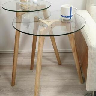 北欧 コーヒーテーブル サイドテーブル ガラス