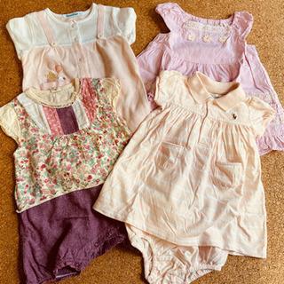ロンパース 4枚セット 70㎝ 女の子用 ピンク