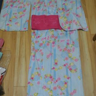 浴衣 水色 桜柄 帯 ピンク 衣装 コスプレ【加藤家大掃除】