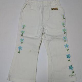 子供服 女の子 90サイズ 長ズボン パンツ 白系 花刺繍