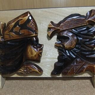 【未使用品】アイヌの木製飾り物 W50㎝ × D12㎝ × H30cm