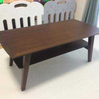 ヴィンテージレトロな棚付きセンターテーブル W100×D50×H...