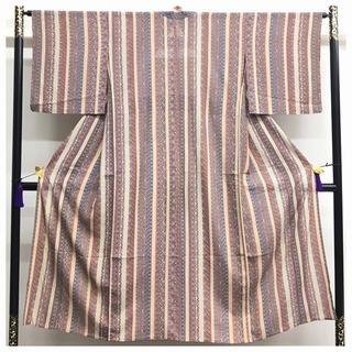 夏物 正絹 小紋 更紗模様 縞 小サイズ 身丈144 裄65 中古品