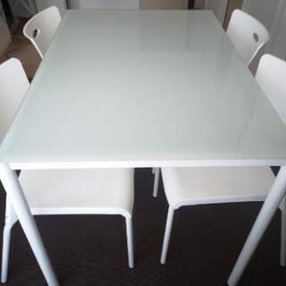 ダイニング テーブル5点セット ガラス天板 食卓テーブル 角丸加...
