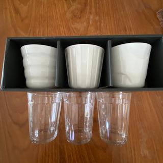 白い陶器、グラスセット