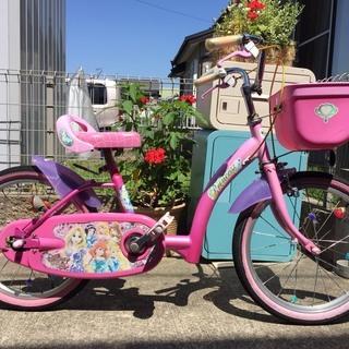 中古子供自転車 ディズニープリンセス アシストバー、補助輪有り