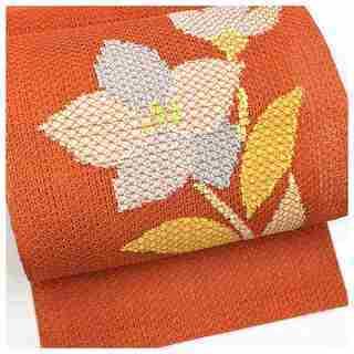 美品 夏物 橙 お太鼓 花模様 羅 上質 名古屋帯 正絹 逸品