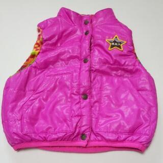子供服 女の子 90サイズ ベスト リバーシブル ピンク