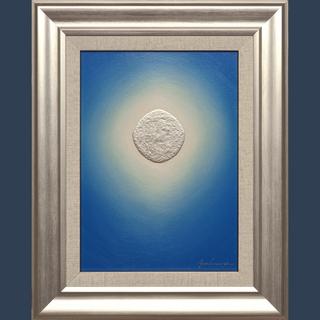 私が描いた油絵です。●『プラチナ青のひかり』●がんどうあつし絵画...