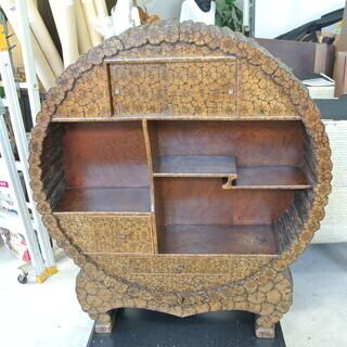 1点物‼ 丸太型の飾り棚 引き出し 木の断面模様(側面は本物?)...