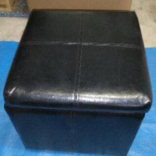 商談中 スツール 39cm角 収納 椅子 ブラック 合皮