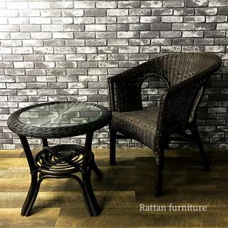 籐製 ラタン チェア テーブル 2点 セット 籐家具 天然素材 ...