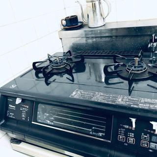 クールブラックなガスコンロ 炊飯も揚げ物温度調節機能もあり! P...