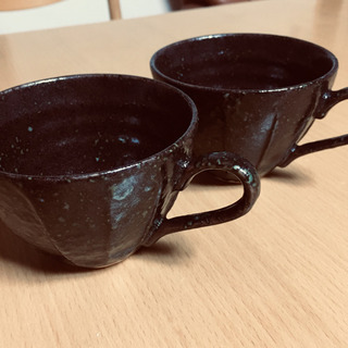 未使用 オシャレなダークブラウンの ペア コーヒー カップ (口...