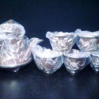 中国茶器 宜興紫砂&錫細工(龍)急須&湯呑み茶碗 5客 未使用品