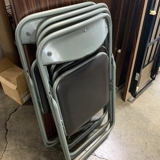 パイプ椅子4脚セット!ミーティングチェア 折り畳み パイプ…