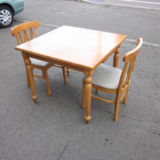 2人掛けダイニングセット テーブル+チェア2脚 木製 幅85cm...