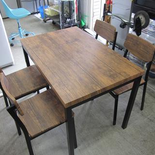 4人掛けダイニングセット テーブル+チェア4脚 木製 幅110c...