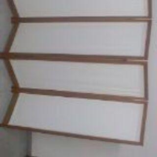 (値下げ)パーテーション 帆布&天然木製折りたたみ式