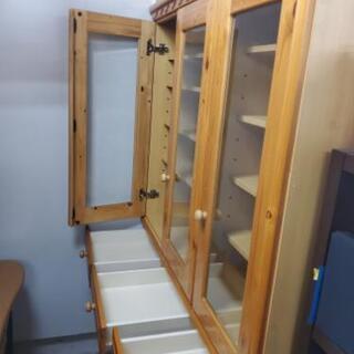 木製カントリー調食器棚 幅120cm