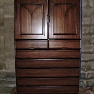 k-2 ◇木製和タンス 衣装盆付き◇ 着物/和装小物収納 上下分...