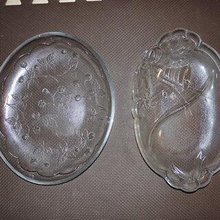 【中古品】ガラス製大皿2つ