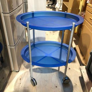 ブルーの楕円形2段トレー◆オシャレキャスターワゴン業務用大きめ